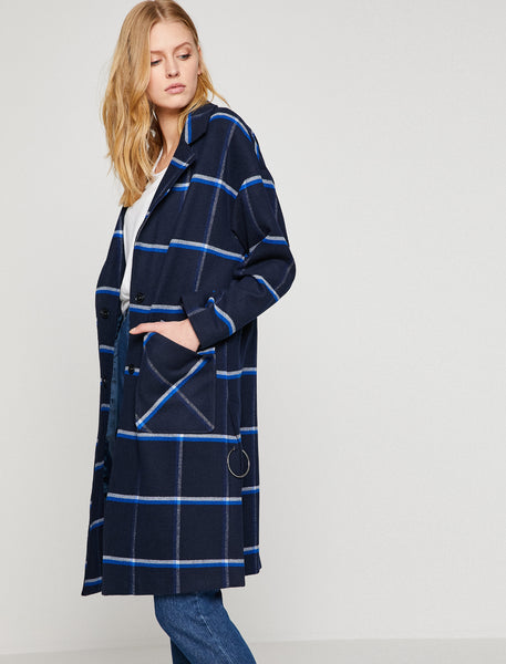 3530229 Navy Check Coat