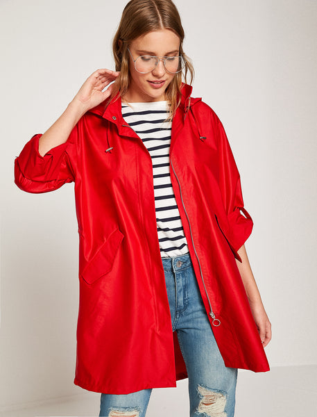 3530296 Red Hooded Short Trenchcoat
