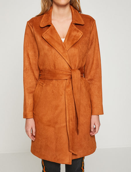 3530308 Camel Suede Look Trenchcoat