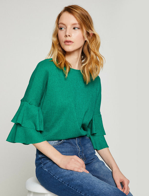 Sleeve Detailed T-Shirt Green
