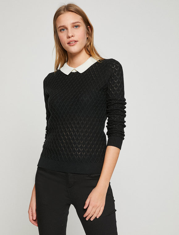 5011307 Black Peter Pan Collar Jumper
