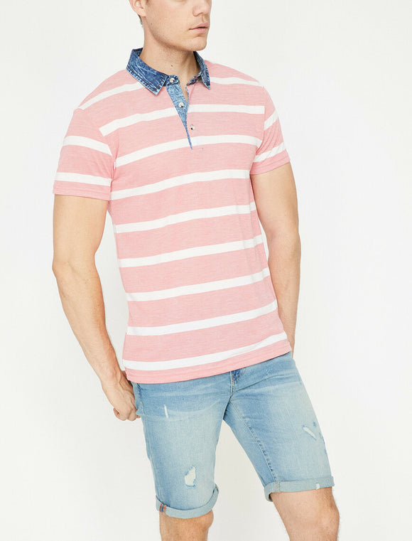 Polo Neck T-Shirt Coral Striped