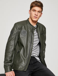 2010014 Green Leather Look Jacket