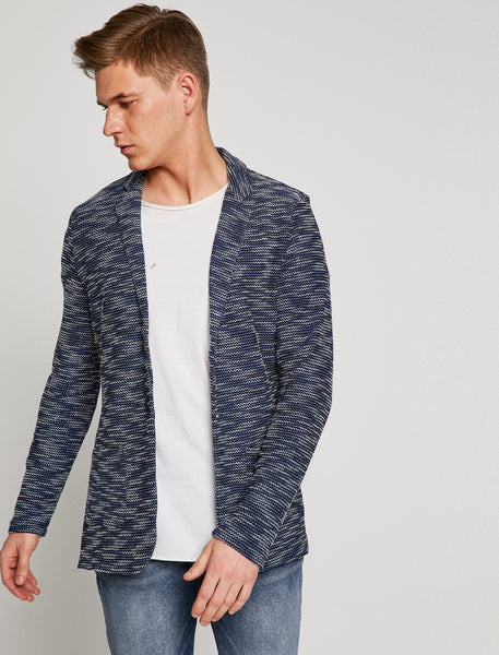 2060008 Navy Patterned Cardigan
