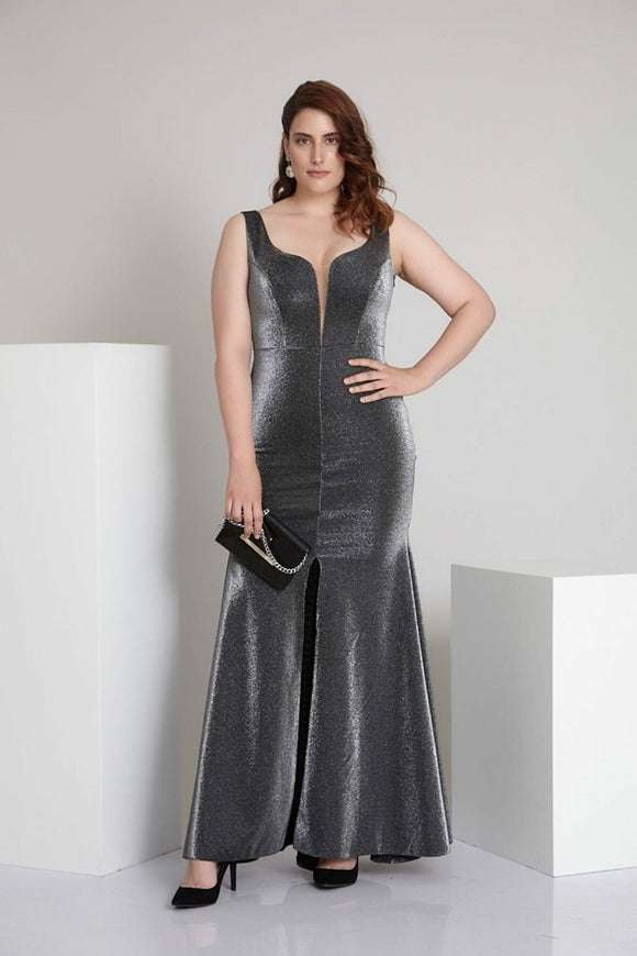 2945 Grey Silver Slit Evening Dress