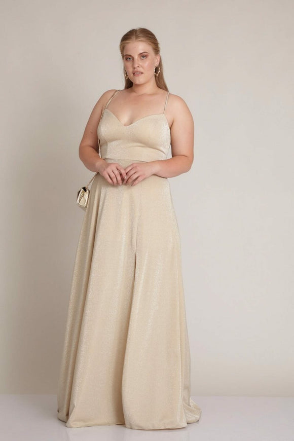 2949 Beige Strap Slit Evening Dress