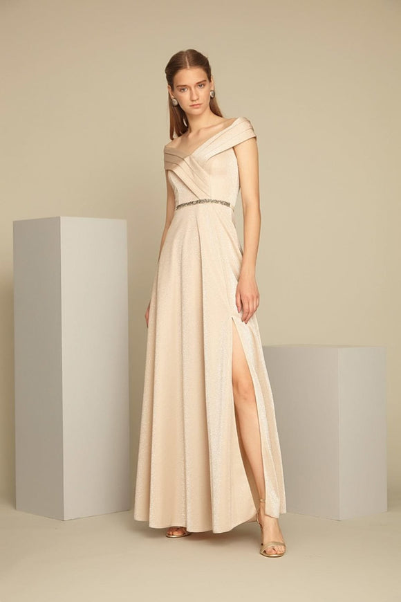 1324 Beige Slit Evening Dress