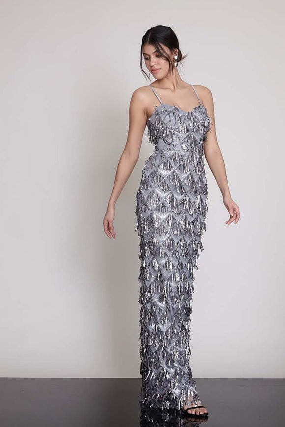 1327 Silver Sequins Strap Dress