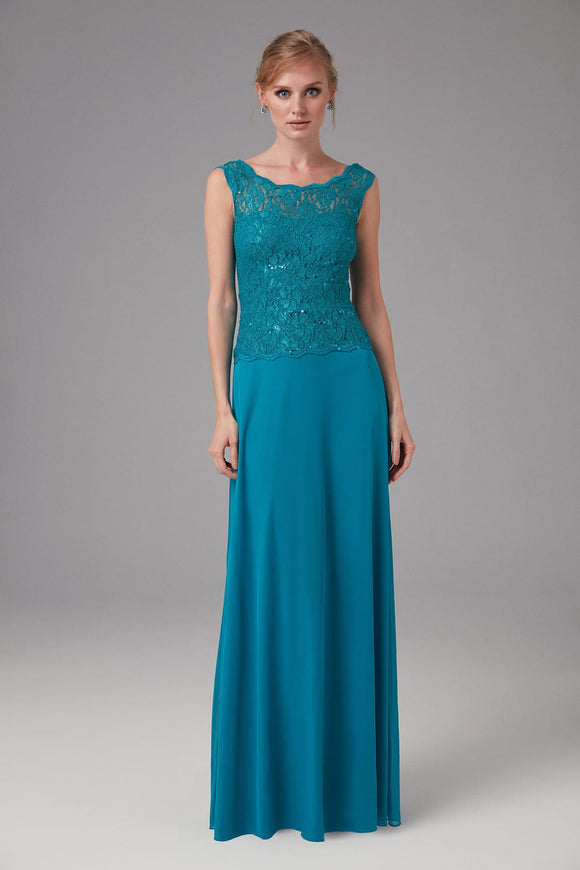 4854 Oil Blue Low Back Embroidered Lace Dress