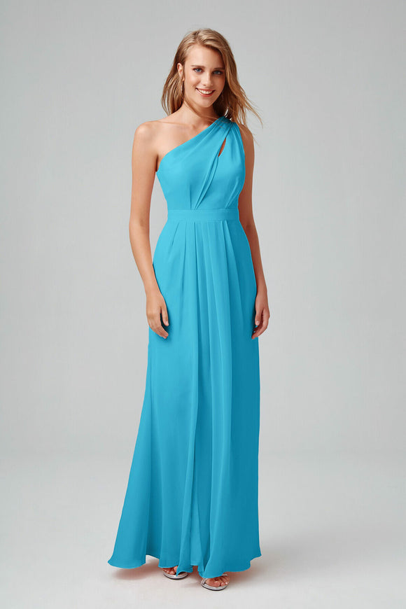 2527 Blue One Shoulder Chiffon Dress
