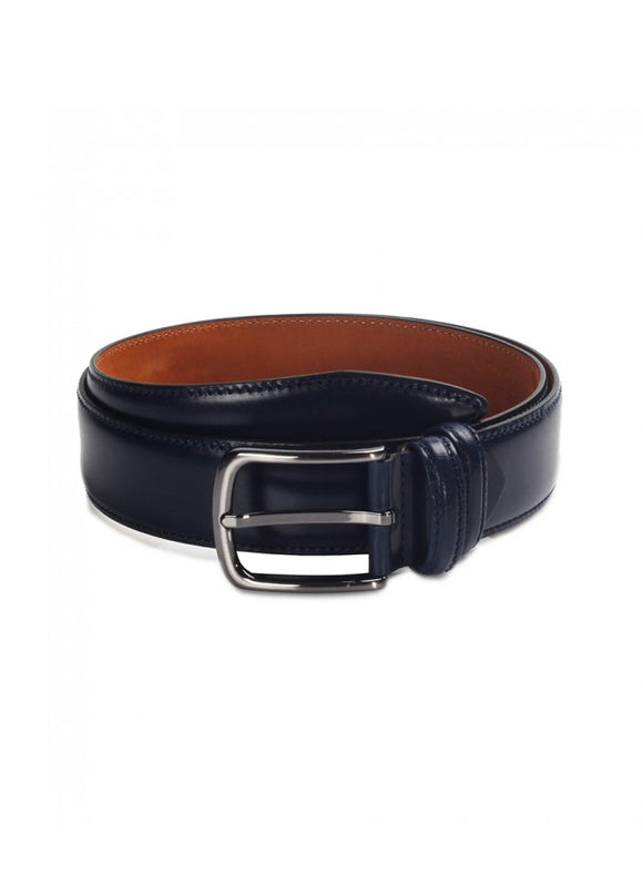 1Schwartz Navy Blue Leather Belt 43038-844