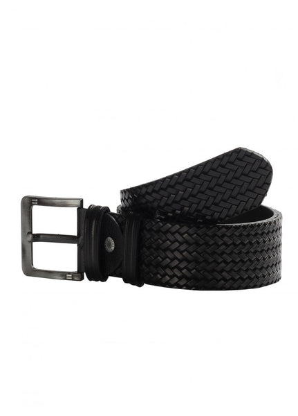 1Knitted Leather Belt Black 43038-415