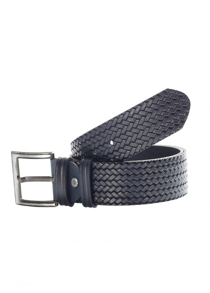 1Knitted Leather Belt Navy Blue 43038-772