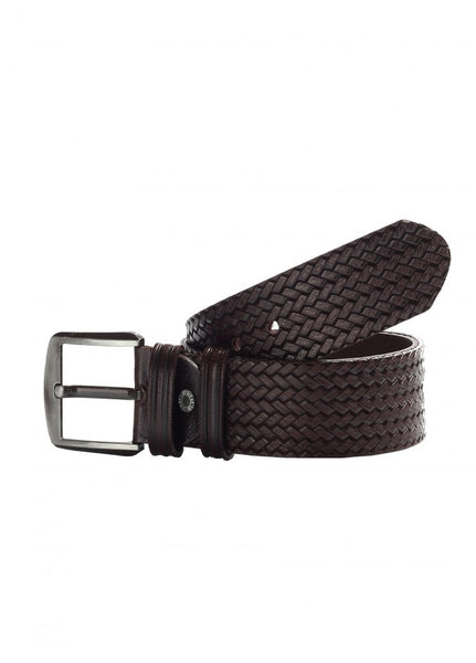 1Knitted Leather Belt Brown 43038-602