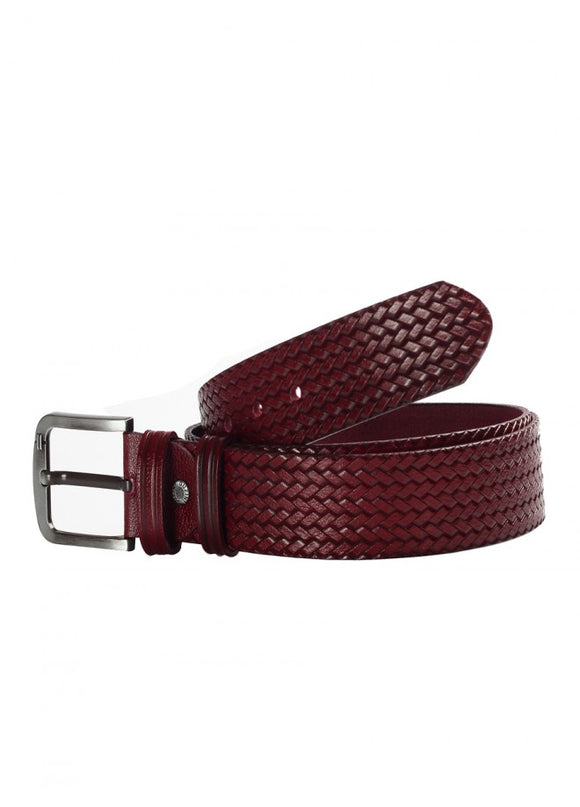 1Knitted Leather Belt Burgundy 43038-767
