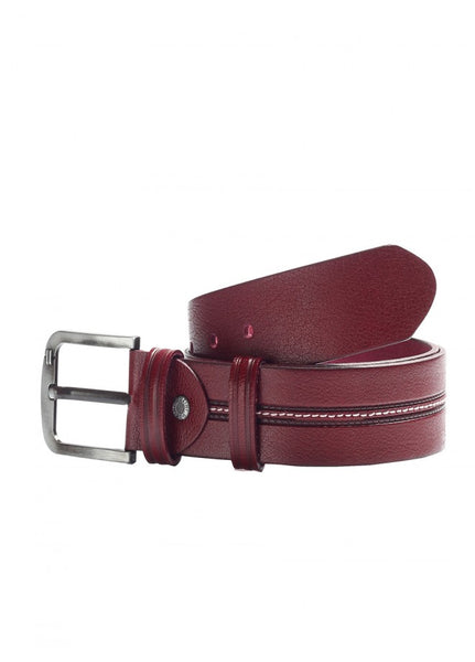 1Stitches Male Leather Belt Burgundy 43038-342