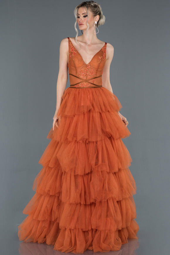 18004 Burnt Orange Transparent Top Tiered Tulle Dress