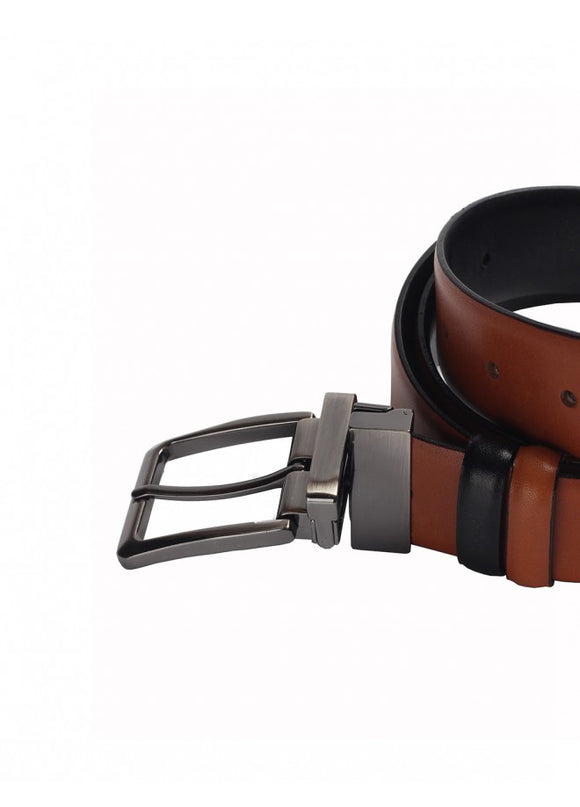 1Double Sided Leather Belt Taba-Black 43038-383