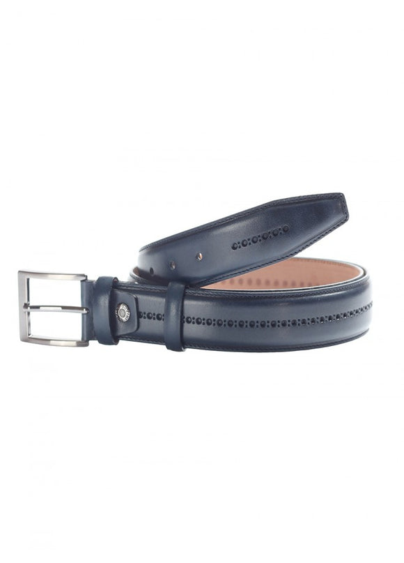 1Navy Blue Men's Textured Leather Belt 43038-335