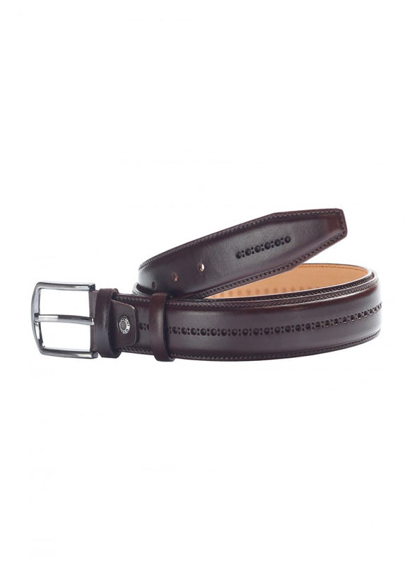 1Burgundy Male-Patterned Leather Belt 43038-391