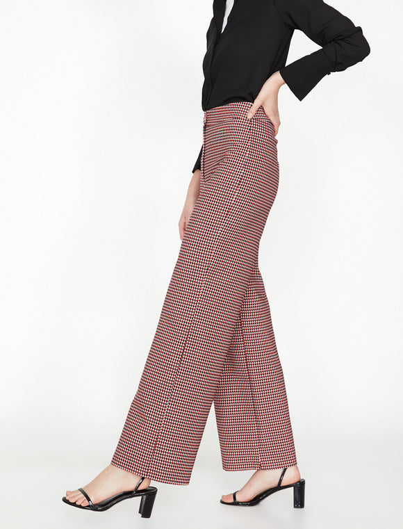 1655 Red Check Wide Leg Flare Pants
