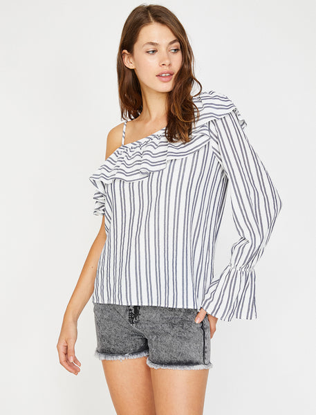 3050299 Blue Striped One Shoulder Blouse