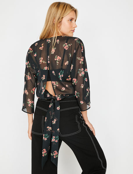 3050301 Black Floral Open Back Blouse