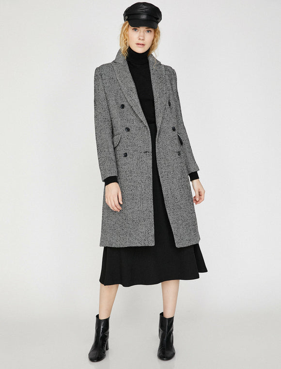 3478 Black Double Breasted Coat