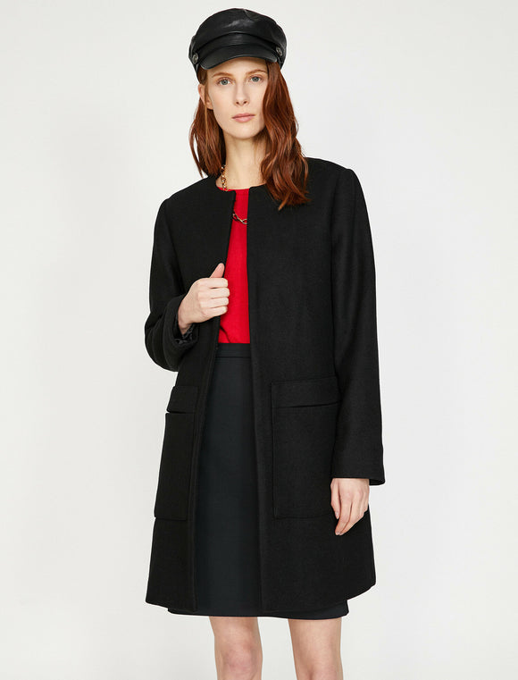 3511 Black Wool Blend Coat