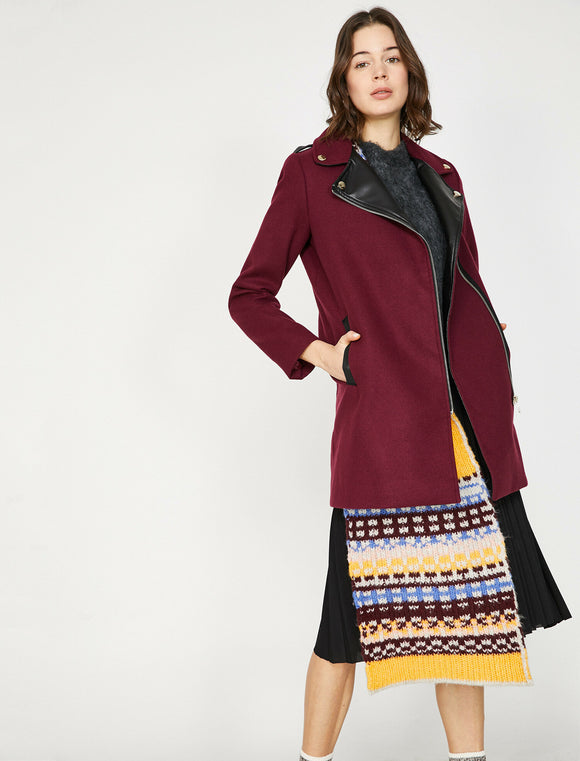 3536 Burgundy Faux Leather Detail Coat