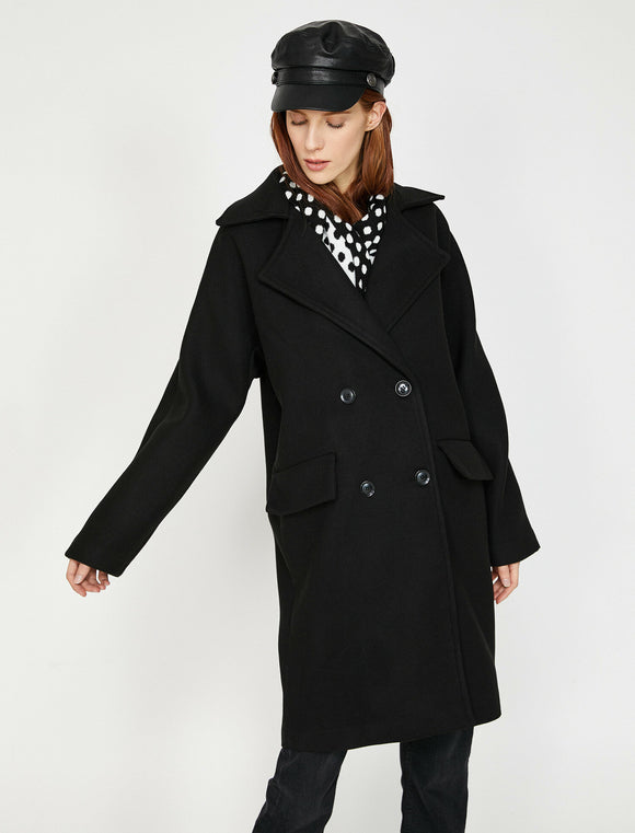 3522 Black Double Breasted Coat