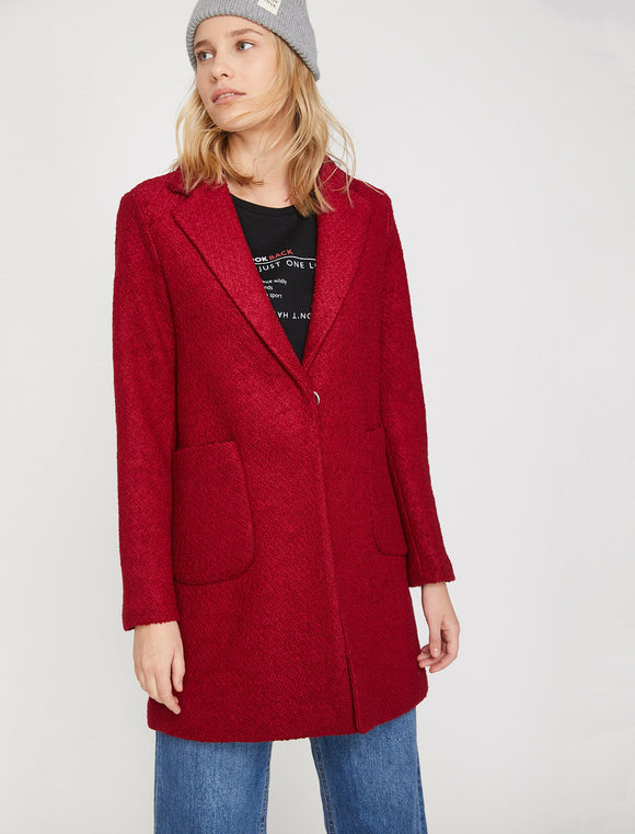 3513 Red Wool Blend Coat