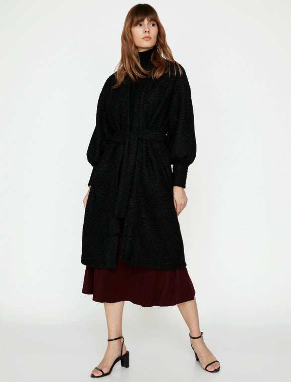 3648 Black Balloon Sleeve Coat