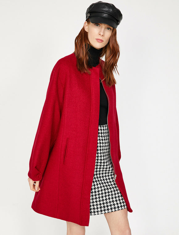 3613 Red Wool Blend Pocket Detail Coat