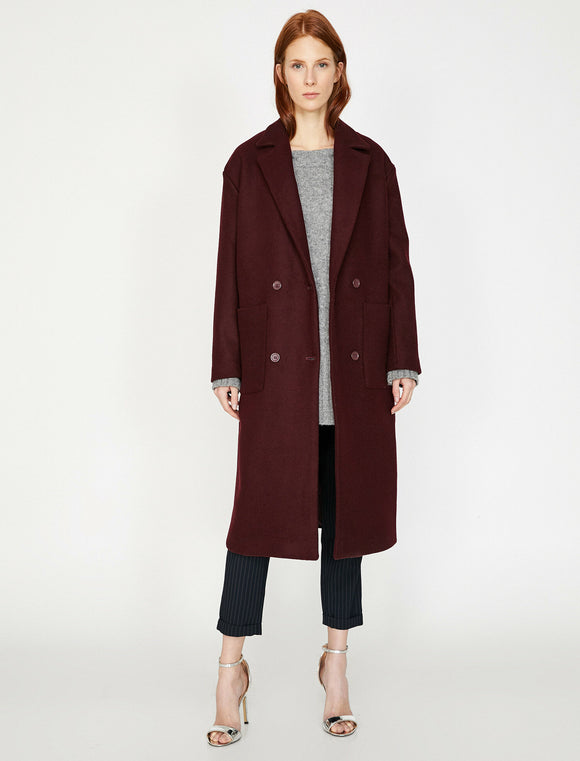 3514 Burgundy Double Breasted Wool Blend Coat