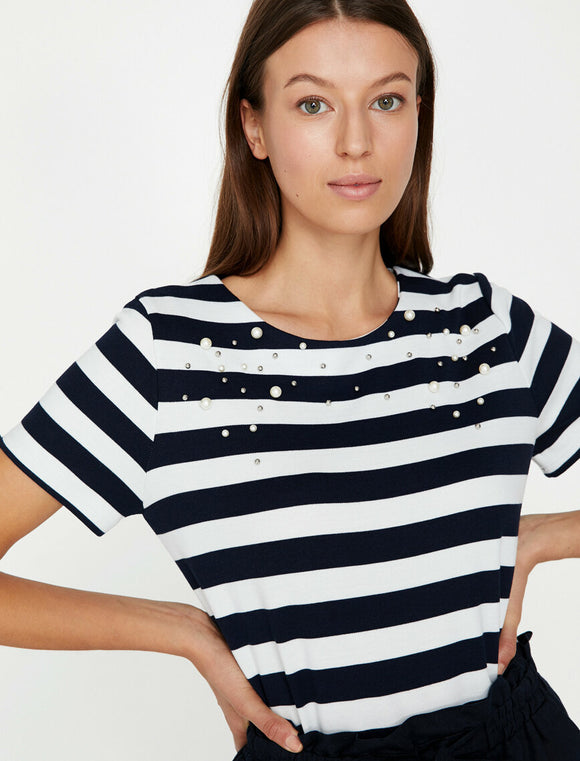 Pearl Detailed T-Shirt Black Striped