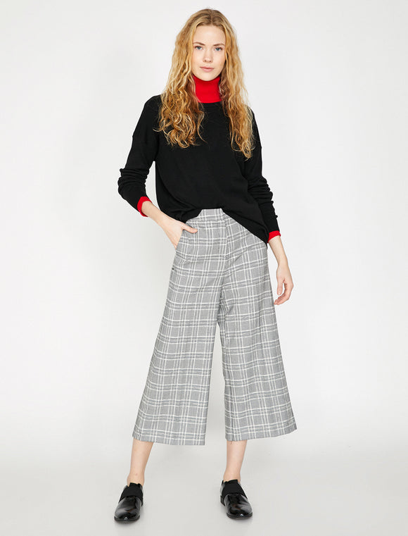 1642 Grey Check Culottes
