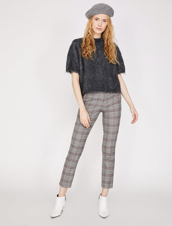 1647 Grey Check Cigarette Pants