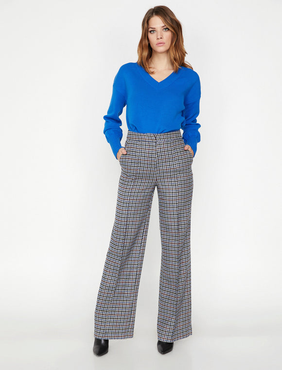 1651 Blue Check Wide Leg Pants