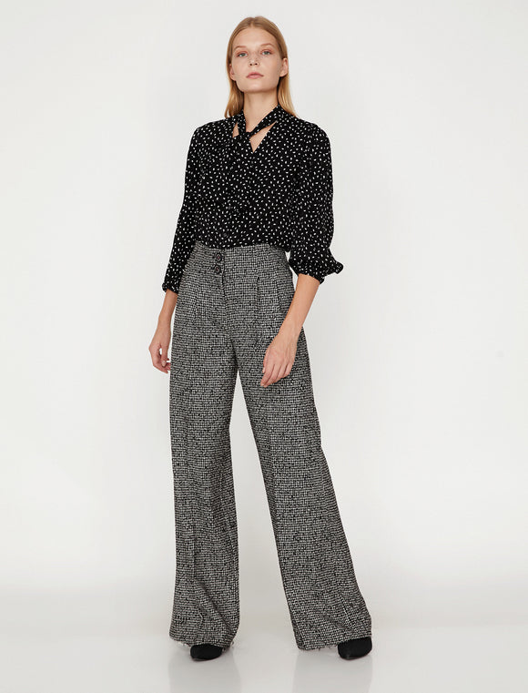 1659 Black Check Wide Leg Flare Pants