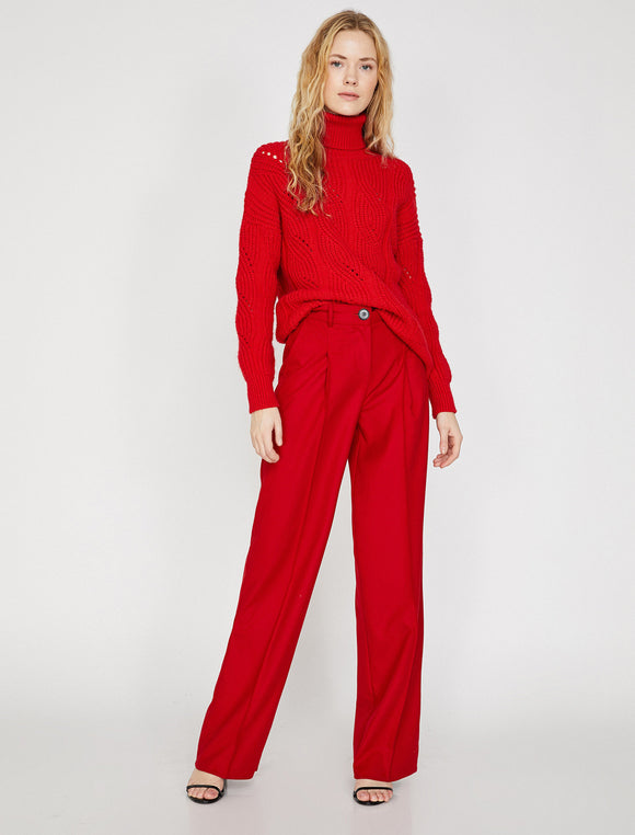 1678 Red Pleated Wide Leg Pants
