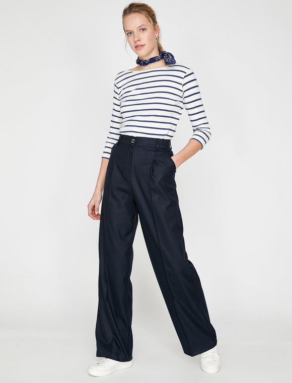 1639 Navy Blue Wide Leg Trousers