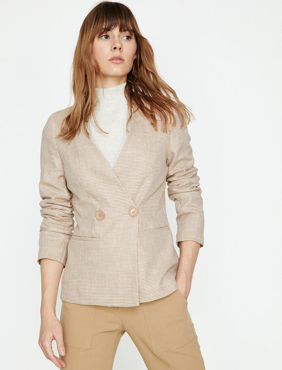 1566 Beige Double Breasted Jacket