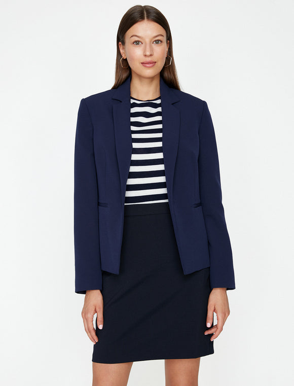 1579 Navy Blue Classic Pocket Detail Jacket