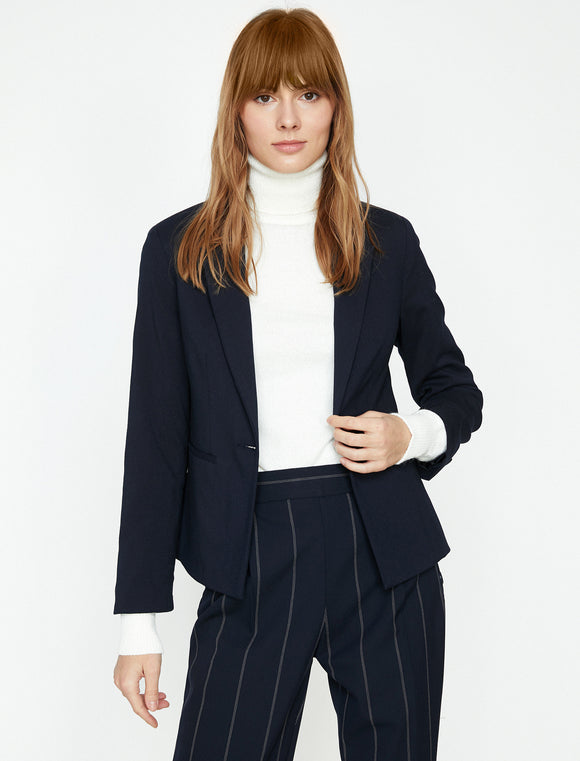 1567 Navy Blue Classic Collar Jacket