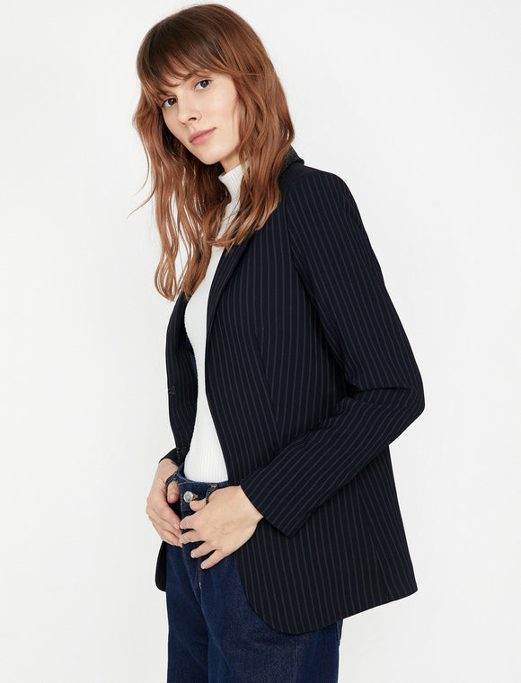 1519 Navy Blue Buttonless Striped Jacket