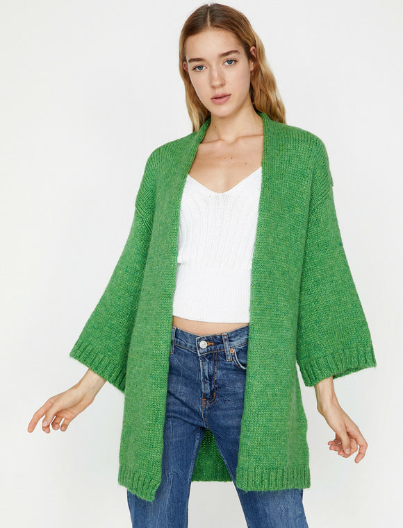 3754 Green Wide Sleeve Knitted Cardigan