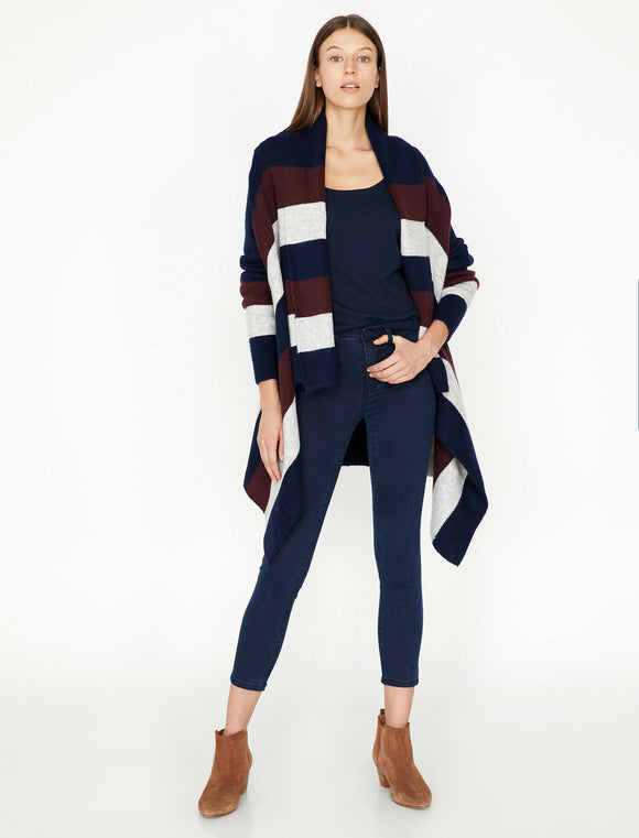 3837 Navy Blue Striped Shawl Colllar Cardigan