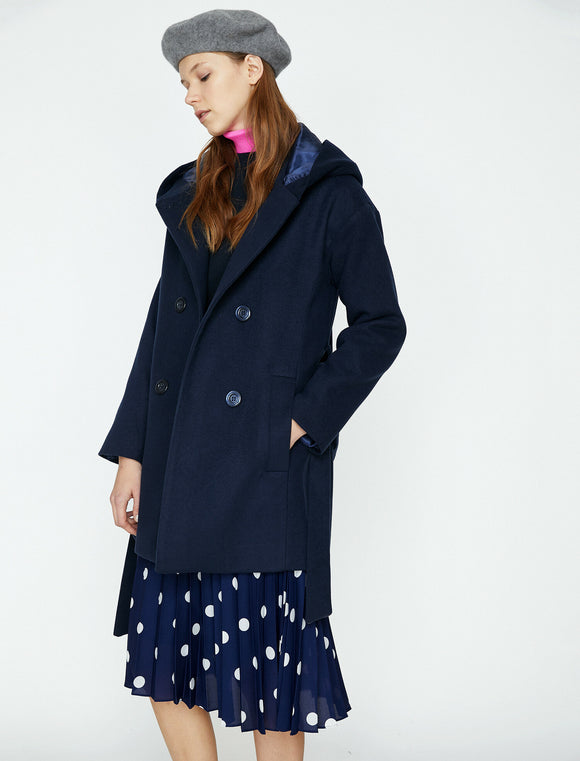 3501 Navy Blue Hooded Short Coat