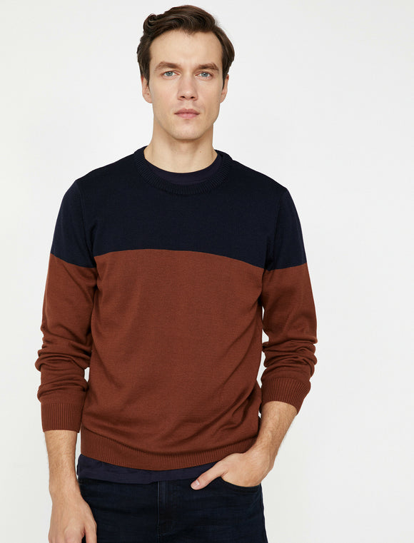 4106 Brown Colour Block Jumper
